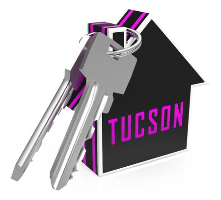 Tucson Homes Key Depicts Real Estate Investment In Arizona. Houses And Apartments For Sale - 3d Illustration