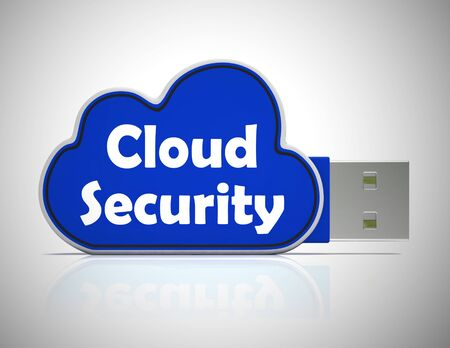 Cloud security concept icon shows protection safeguards on the net. Protecting information and data - 3d illustration