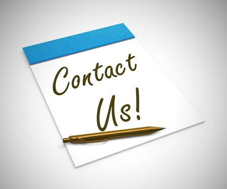Contact us concept icon means connecting to helpdesk. Hotline assistance and feedback at the touch of a button - 3d illustration Stock Photo