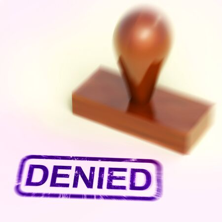Denied stamp means permission refused on document or form. Item rejected and disapproved - 3d illustration Stock Photo