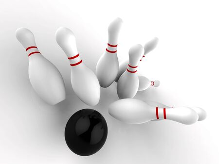 Skittles or bowling at and Alley, a great Sport. A 10 pin tournament or match - 3d illustration