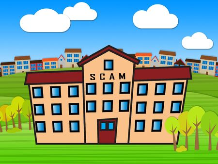 Property Scam Hoax Building Depicting Mortgage Or Real Estate Fraud. Residential Properties Realty Swindle - 3d Illustration