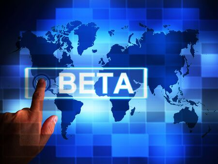 Beta version concept icon used for demos or test software. A trial or testing of experimental apps open to the public - 3d illustration 写真素材