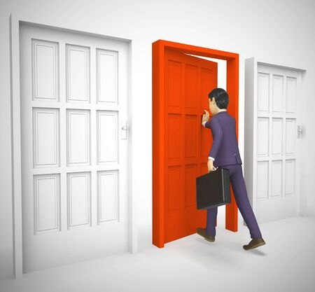 Opportunity Knocks at the door of chance and good luck. Select a doorway and choose to enter for good possibilities - 3d illustration Banco de Imagens