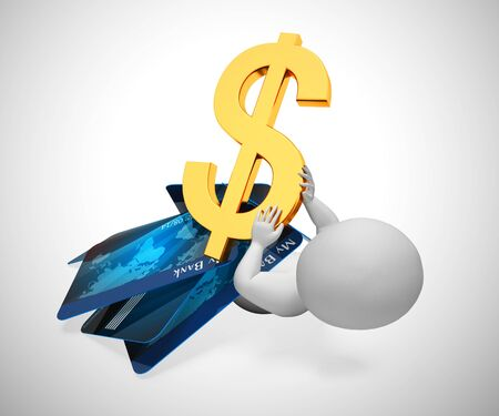 Spending dollars on a credit card causing bad debt. American US dollars bank card overspend - 3d illustration