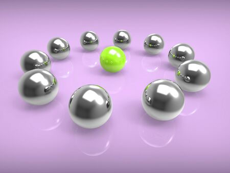Alone in a crowd is shown by a solo sphere amongst many others. Depicts loneliness, solitude or difference - 3d illustration Stock Illustration - 124930015