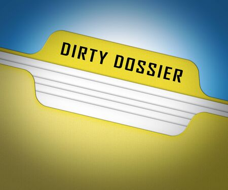 Dirty Dossier Folder Containing Political Information On The American President 3d Illustration. Investigation Data From Spying On Russia