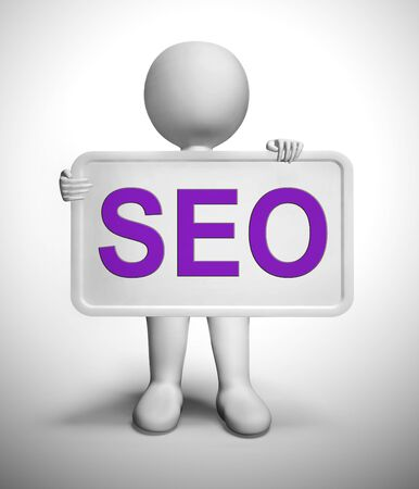 SEO concept icon means search engine optimisation for website traffic. Online promotion for ranking and improved sales - 3d illustration Stock Photo