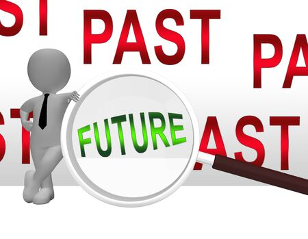 Past Vs Future Magnifier Compares Life Gone With Upcoming Prospects. Looking At Destiny, Fate And Opportunity - 3d Illustration Фото со стока