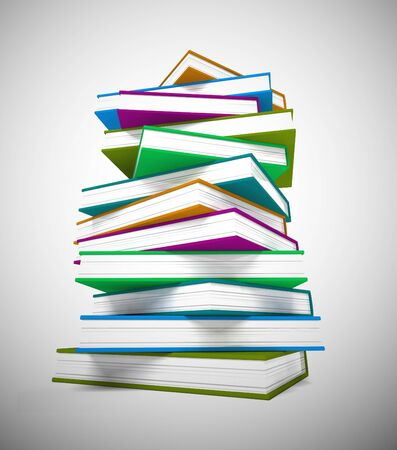 Pile of books for reading to gain knowledge and literacy. Printed matter for children or adults wanting learning or escapism - 3d illustration Stockfoto