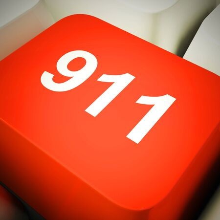 911 emergency service number to call for police fire or ambulance. Medical assistance or urgent rescue - 3d illustration Stock Photo