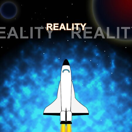 Perception Vs Reality Words Compares Thought Or Imagination With Realism. Looks At Insight And Feeling - 3d Illustration Banque d'images - 124930143