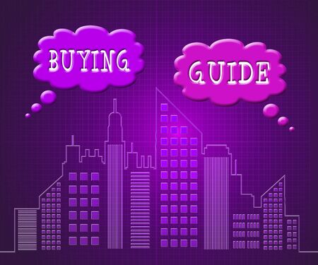 Home Buying Guide Apartments Depicts Evaluation Of Buying Real Estate. Purchasing Guidebook And Information - 3d Illustration Stok Fotoğraf