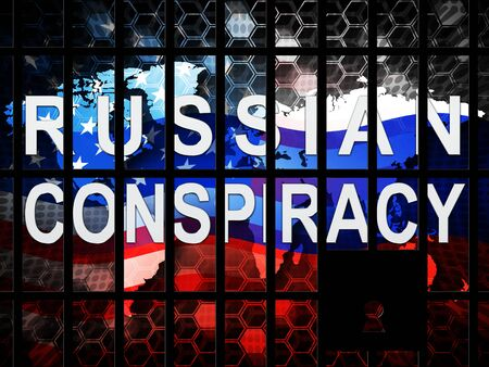 Russian Conspiracy Scheme By Politicians Conspiring With Foreign Governments 3d Illustration. Complicity In Crime Against The Usa Imagens
