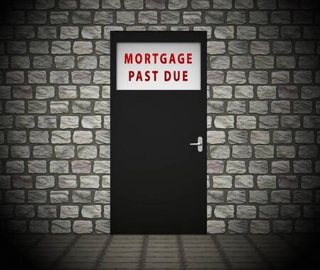 Mortgage Past Due Doorway Meaning Overdue Loan Repayment Not Paid. House Or Home Payment Failure - 3d Illustration