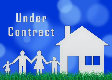 Home Under Contract Icon Depicts Property Sold And Offer Signed. Legal System For Buying Real Estate - 3d Illustration Banco de Imagens