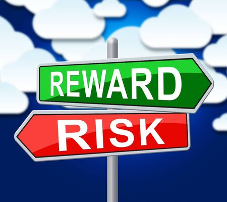 Risk Vs Reward Strategy Sign Depicts The Hazards In Obtaining Success. Taking A Chance To Get A Return On Investment - 3d Illustration
