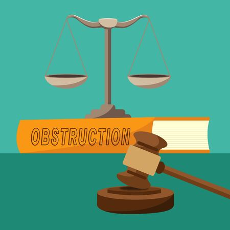Obstruction Of Justice In Politics Balance Meaning Hindering Political Cases Or Congress 3d Illustration. Legislation Process Blocked Or Hindered.