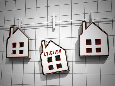 Räumungsbenachrichtigungssymbol veranschaulicht Hausverlust aufgrund von Insolvenz, Schulden, Nichtzahlung oder Durchsetzung durch den Vermieter - 3D-Darstellung