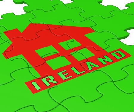 Ireland Property Or Real Estate Jigsaw Depicts Buying Or Renting. Realty And Development In Eire - 3d Illustration
