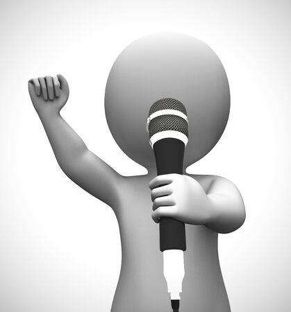 Singer singing songs with a microphone at a concert. The lead recording artist and vocalizer - 3d illustration Imagens