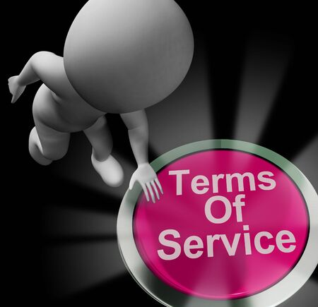 Terms of service button to show general user requirements. Restrictions and rules to use the website - 3d illustration