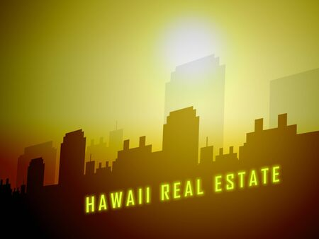 Hawaii Real Estate City Shows Hawaiian Property Investment Or Purchasing. Polynesian Homes Or Apartment Sales For Homeowner - 3d Illustration