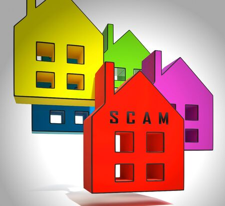 Property Scam Hoax Icon Depicting Mortgage Or Real Estate Fraud. Residential Properties Realty Swindle - 3d Illustration Stok Fotoğraf