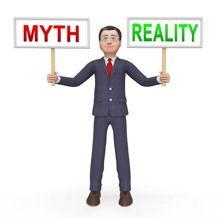 Myth Vs Reality Businessman Demonstrating Authenticity Versus False Facts. Integrity And Honesty Compared With Lies - 3d Illustration