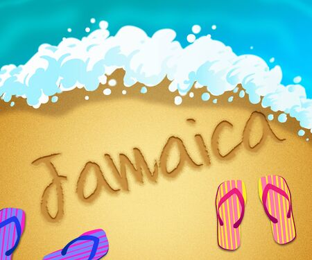 Jamaican island beach shore representing tourism and vacations in Jamaica. An idyllic exotic holiday by the ocean - 3d illustration