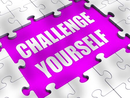 Challenge yourself concept icon meaning determination required. Boldness and bravery needed for a successful outcome - 3d illustration Stock Photo