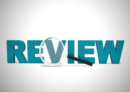 Das Symbol für das Überprüfungskonzept bedeutet, dass das Studium untersucht und überprüft wird. Und Bewertung oder Bewertung eines Produktes - 3D-Darstellung