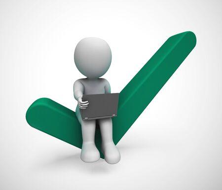 Segno di spunta concetto icona e uomo d'affari significa approvazione. Una soluzione positiva per il supporto e l'accordo - illustrazione 3d