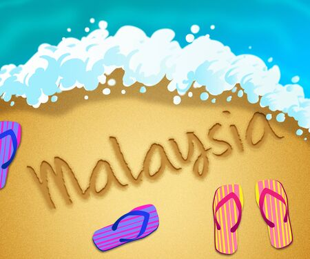 Malaysian beach shore representing tourism and vacations in Malaysia. An idyllic exotic holiday by the ocean - 3d illustration