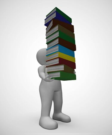 Pile of books for reading to gain knowledge and literacy. Printed matter for children or adults wanting learning or escapism - 3d illustration Imagens