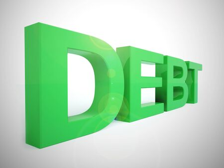 Debt obligation concept icon shows borrowing too much. Financial delinquency from sums owed - 3d illustration
