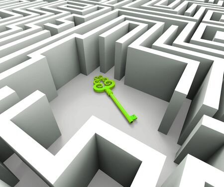 Securing the maze means safekeeping or guaranteed security. Access or unlocking using encryption - 3d illustration
