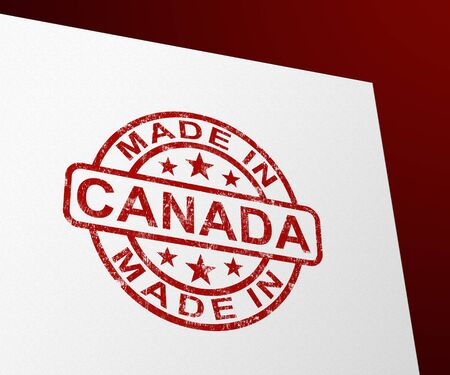 Made in Canada stamp shows Canadian products produced or fabricated. Quality patriotic exports for international trade - 3d illustration