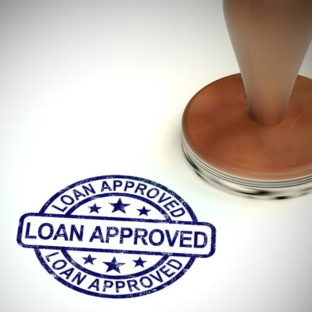 Loan approved stamp means financial borrowing accepted. Finance application authorised - 3d illustration Stok Fotoğraf