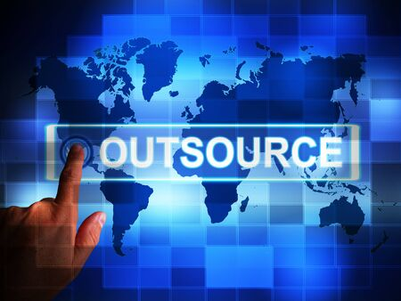 Outsource or contracting out means to subcontract or use external workers. Freelance projects or Global sourcing - 3d illustration Banque d'images
