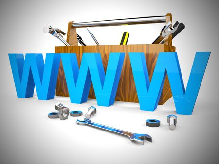 World wide web internet connected concept icon. Network access to international Communications - 3d illustration