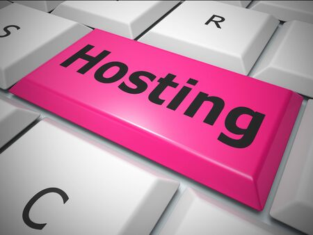 Hosting Concepts icon means web host or internet site. Connectivity to a datacenter for your business - 3d illustration Stock Photo