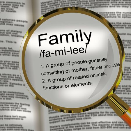 Family concept icon means relatives and kinfolk. Relations and offspring such as children and in-laws - 3d illustration Banco de Imagens