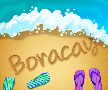 Boracay island beach shore representing tourism and vacations in the Philippines. An idyllic exotic holiday by the ocean - 3d illustration 写真素材
