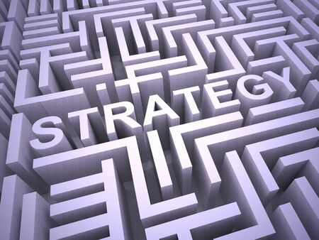 Business strategy concept icon means an overall plan of operation. Tactics and approach for prosperity and success - 3d illustration