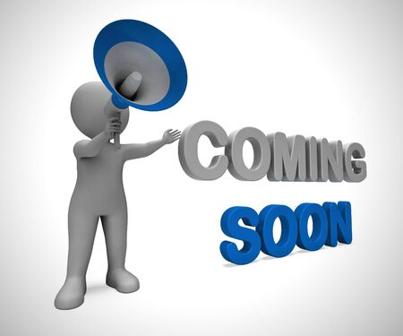 Coming soon concept icon means available shortly. An arrival or promotion under construction - 3d illustration