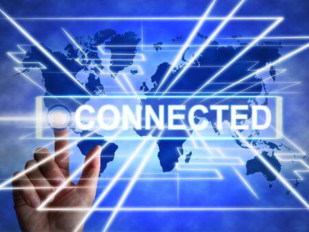 Verbonden met het internetconceptpictogram betekent online toegang. Gegevens of informatie van wereldwijde websites - 3d illustratie