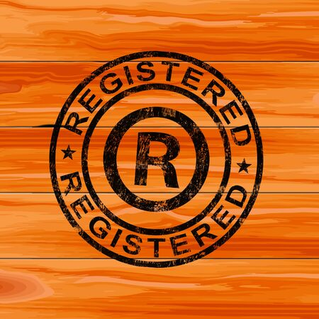 Registered concept icon means copyrighted or trademarked products. Has authors rights under the copyright act - 3d illustration