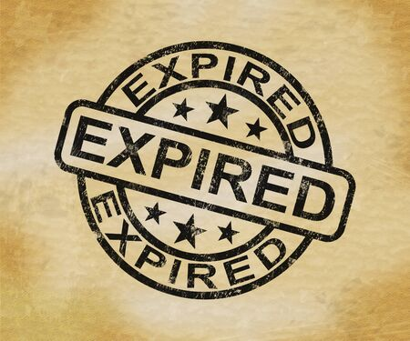 Expired stamp means lapsed past or invalid as obsolete. Null and void as period of validity finished - 3d illustration Stock Photo