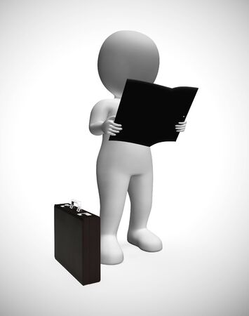 Reading a report business character wants information to educate himself. Management data and analysis from documents - 3d illustration